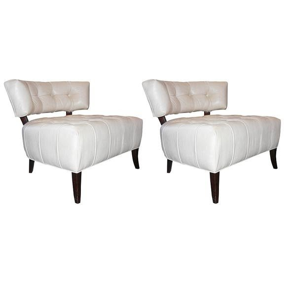 Pair Of White Leather Slipper Chairs Attributed To Billy Haines