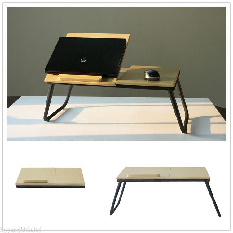 Portable Laptop Desk Table Folding Lap Desk Bed Tray Notebook Wood Stand