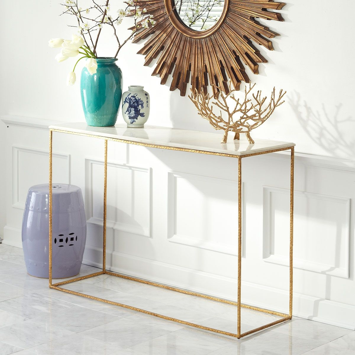 Round Foyer Table Marble Top