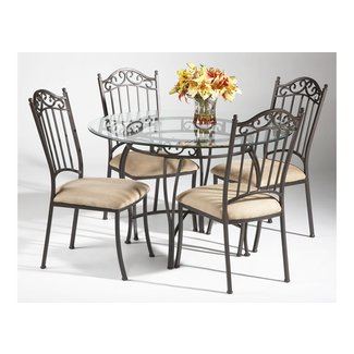 Round Wrought Iron Gl Top Dining Table 1