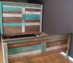 Shabby chic reclaimed king bed set