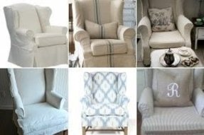 Slipcovered wingback chair