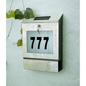 Solar powered mailbox with house numbers stainless steel 1