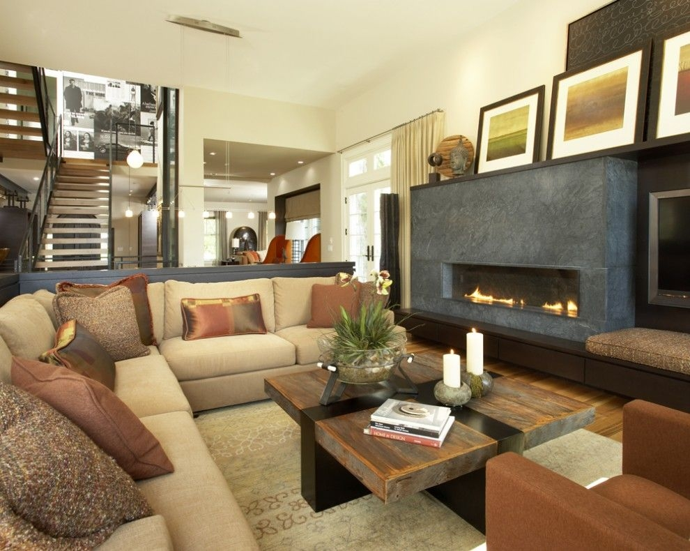 Television and fireplace in one room