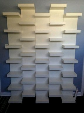 White wall mount shelves