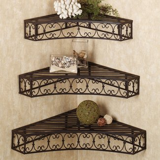 Wrought iron corner shelf