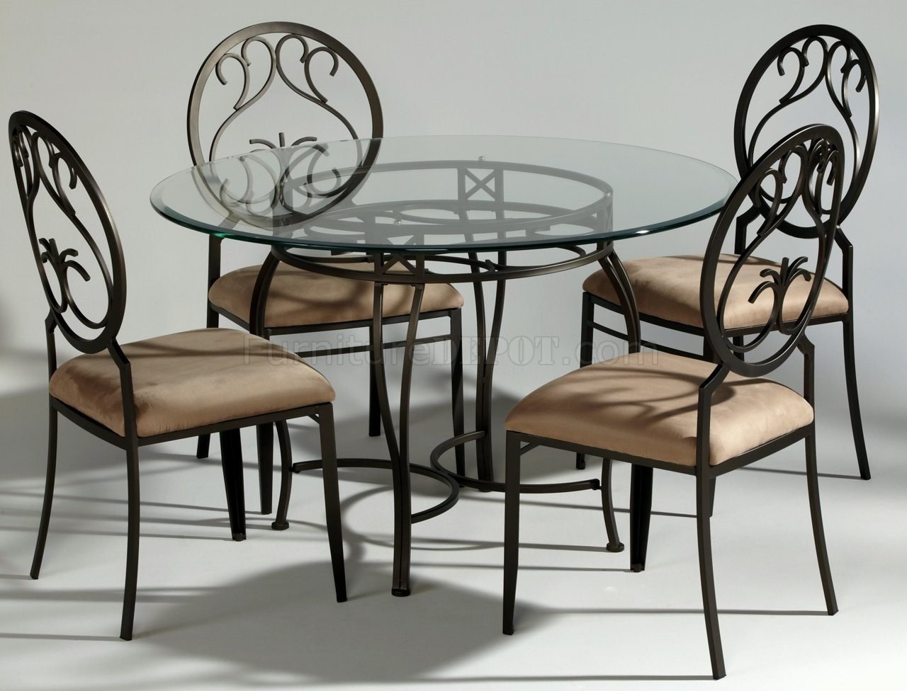 Wrought iron dining chairs & Glass Top Wrought Iron Dining Table - Foter