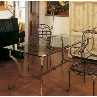 Wrought iron dining room table base