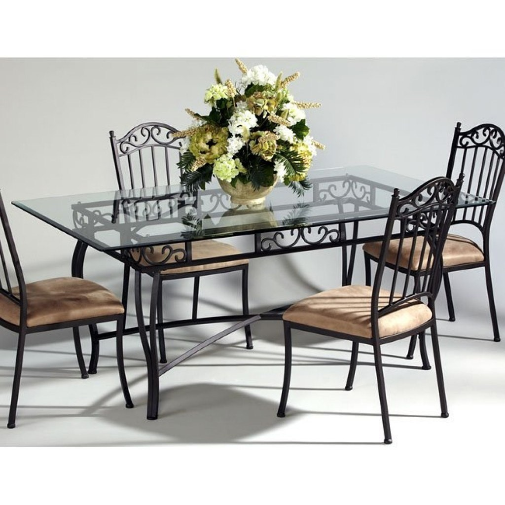 Attirant Wrought Iron Dining Tables With Glass Tops