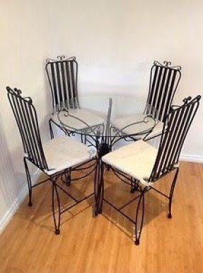 Wrought iron table bases. ? . Wrought iron dining set & Glass Top Wrought Iron Dining Table - Foter