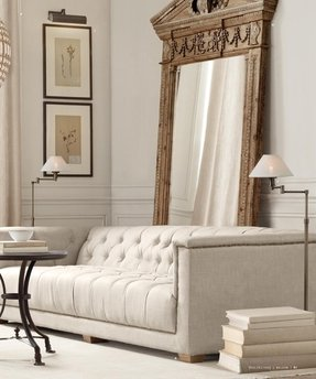 Tufted White Leather Sofa - Foter