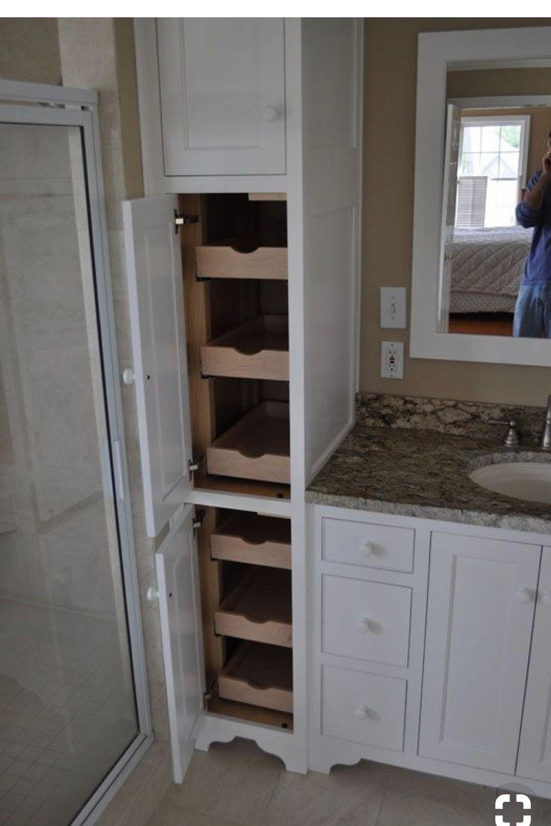 Tall Linen Tower Cabinet Organizer Storage Shelves Doors Bathroom Salon Wood