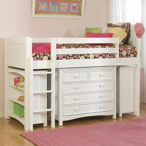Bolton Furniture Cottage Twin Low Loft Bed With Bookcase And Wakefield Dresser