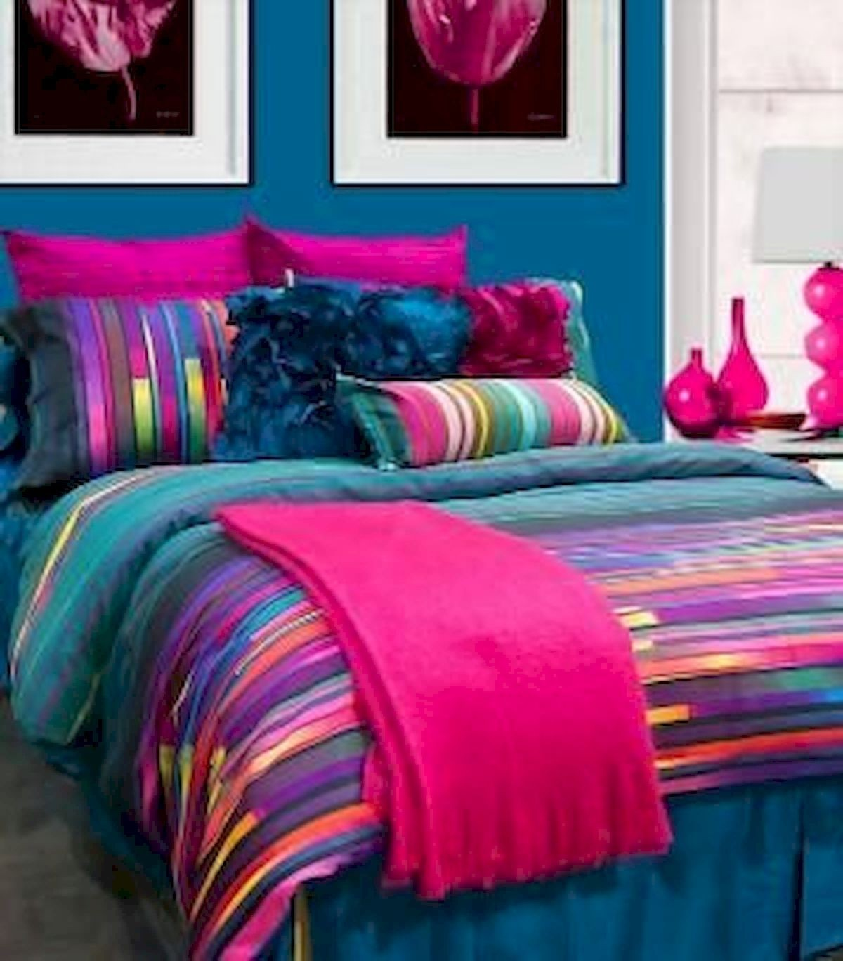 Bright colored bed sheets