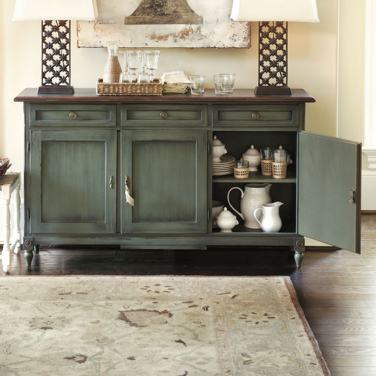 distressed buffet table foter rh foter com Distressed Buffets and Sideboards distressed blue buffet table