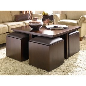 Hammary Cubics Coffee Table With Nested Ottomans