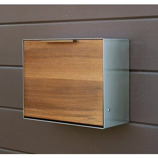 Modern post mounted mailbox teak and