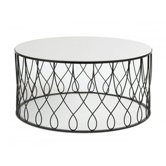 Round glass coffee table metal base 4