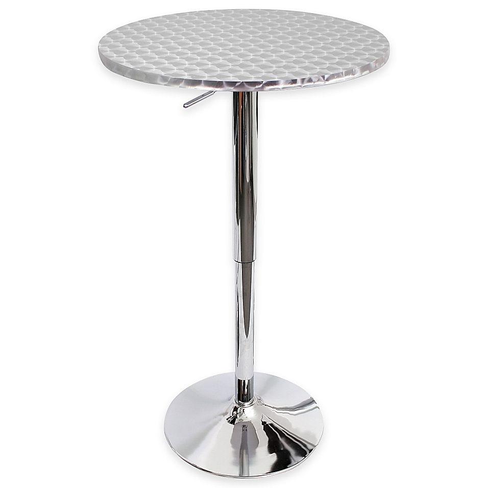 Round Bar Cocktail Table Black Metal Pedestal Leg Pub Tall Height Top Furniture