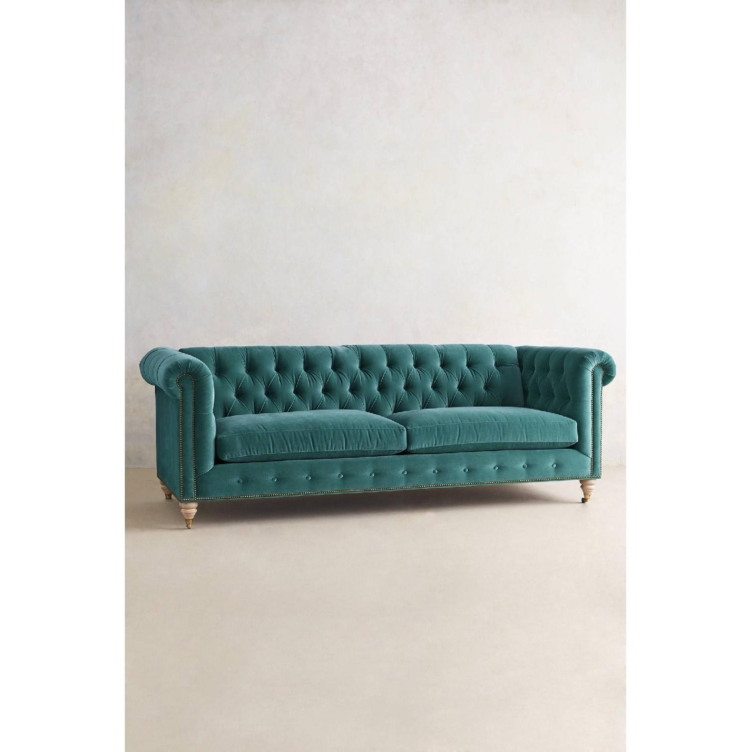 Genial Teal Tufted Sofa 2