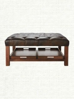 Ordinaire Tufted Leather Ottoman Coffee Table