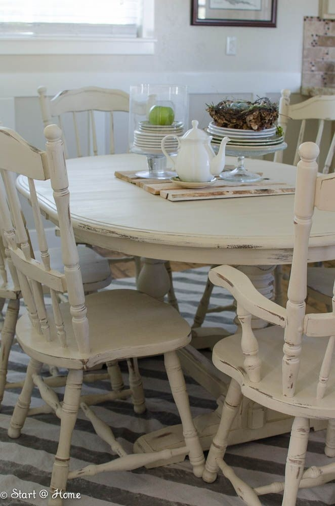 White Distressed Dining Table 3