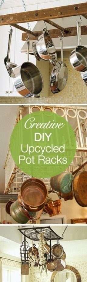Wooden hanging pot rack 1
