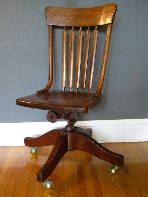 Antique Wood Office Chair