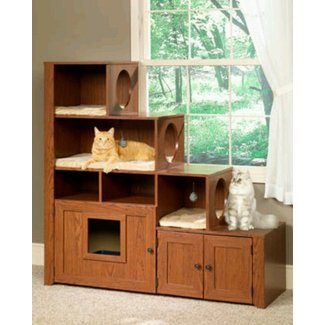 Bookcase Climber Litter Box Cabinet Cat Furniture