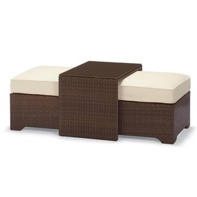 Coffee table with nesting ottomans 2