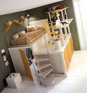 Add Comfort And Combine Functionalities With The Loft Bunk Bed It Features A Work Station White Yellow Colors Striped Mattress Pillows