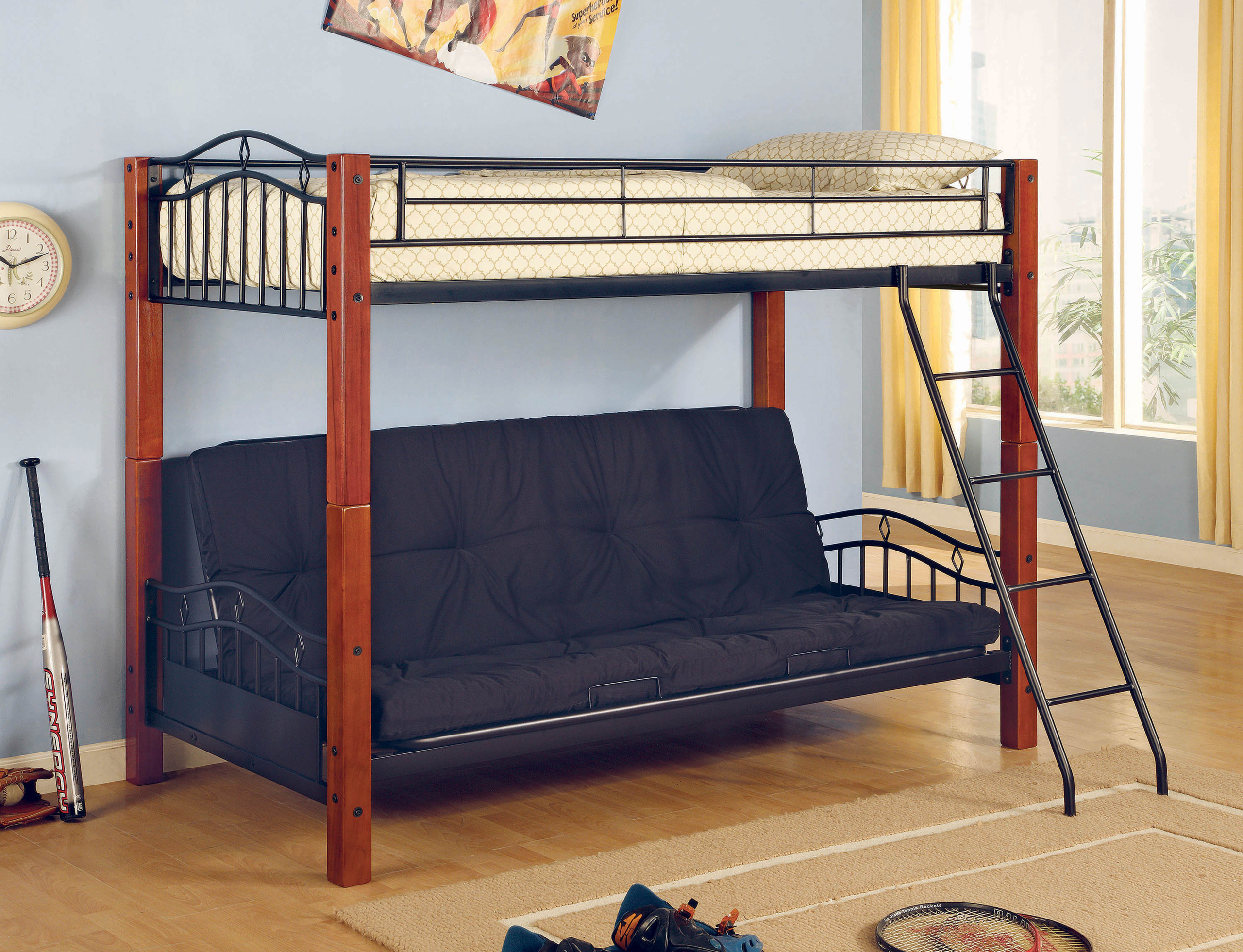 Elk City Twin over Futon Bunk Bed with Angled Ladder