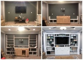 Entertainment center bookshelves