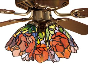 Stained glass ceiling fan light shades foter 27482m 5w tiffany floral iris stained glass ceiling fan lamp aloadofball Choice Image