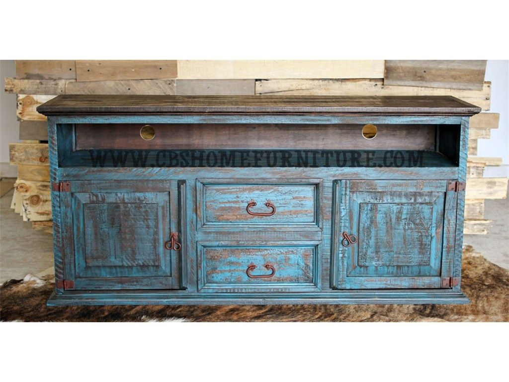 Rustic Living Room Furniture That Serves As A TV Stand. This Durable Wooden  Construction Is Finished In Attractive Turquoise Color.
