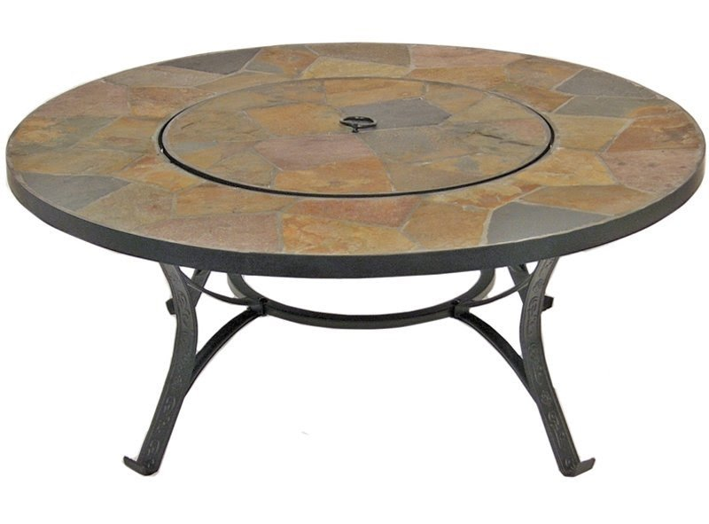 Round Solid Fire Pit Table,gives A Cozy Sensation To Your Backyard.It Has  Copper Accents And Decorative Cast Iron Legs.The Lid Converts The Pit Into  A Table ...