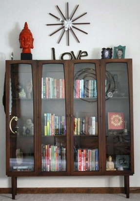 Glass covered bookshelves