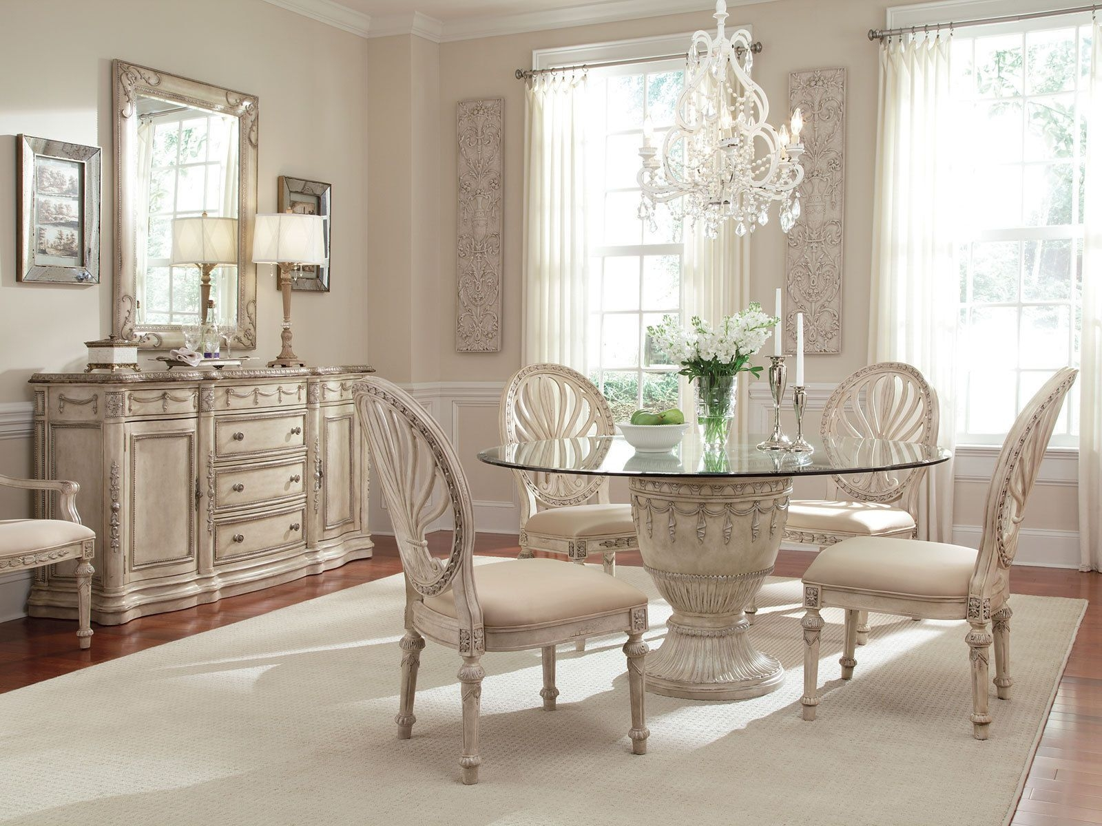 Captivant Grande Palace 5pcs Traditional Round Glass Top Dining Room Table