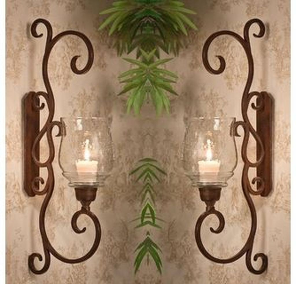 Large Candle Wall Sconces Wrought Iron