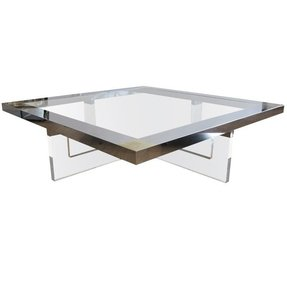 Large Lucite Chrome Br Coffee Table