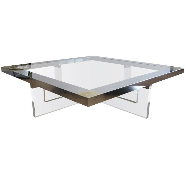 Large Lucite Chrome Brass Coffee Table