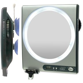Lighted shaving mirror 28