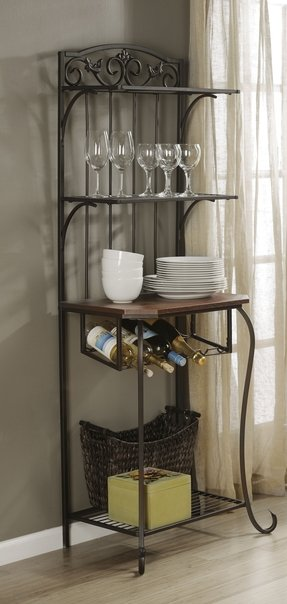 Metal bakers rack with wine storage 1