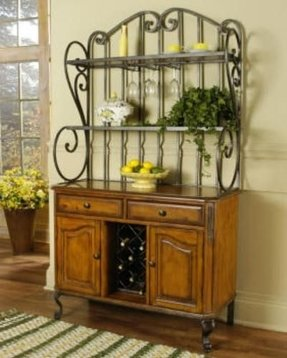 Metal Bakers Rack With Wine Storage