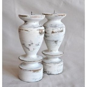 White Wooden Candle Holders - Foter