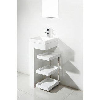 Resin Small Pedestal Sink Mobile Portable Vanity Cabinet Bathroom Shelf