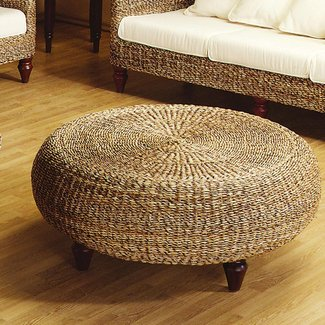 Round wicker ottoman coffee table