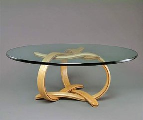Round wood and glass coffee table 2