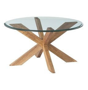 Round wood and glass coffee table 5