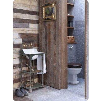 Rustic wood partition exactly what im doing in my bathroom